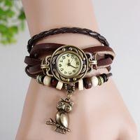 Wholesale owl shaped bracelet resale online - Fashion cow Leather bracelet watch leather strap Owl charm female form vintage watches
