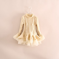 Wholesale Girls Knit Lace Dress - 2016 Spring Kids Girls Knit Sweater Dresses Baby girl tulle lace TUTU Winter princess jumper pullover dress