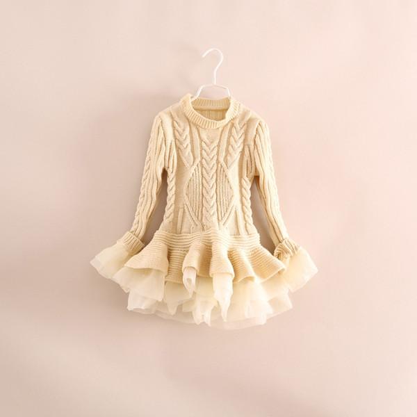 2016 frühling kinder mädchen stricken pullover kleider baby mädchen tüll spitze tutu winter prinzessin jumper pullover dress