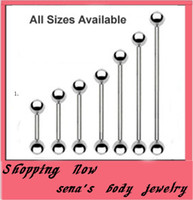 Wholesale Silver Ball Piercing - tongue ring 70pcs lot mix 7 size stainless steel ball heix earring piercing body tongue ring