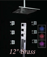 "Wholesale Led Wall Faucet - New 12"" LED Color Changing Thermostatic Rain Shower Faucet With 6 Massage Jets"