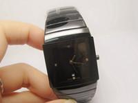 zafiro cuarzo ceramico negro al por mayor-Relojes de lujo de los hombres de cerámica negro reloj de cuarzo cristal de zafiro fecha automática relojes de pulsera envío gratis RA06