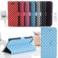 Wholesale Iphone Polka Wallet - 2014 Polka Dots Leather Case With Stand for Apple iPhone 5 5S Cover, For iphone5 5s Flip Wallet Leather Case with Holder Free DHL 100pcs lot