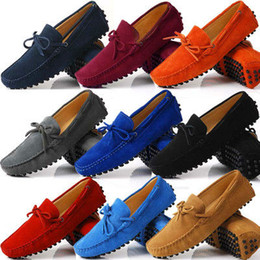 Wholesale Mens Red Loafers Suede - US6-12 Suede Leather Mens SLIP 0N loafers casual CAR Shoes Moccasin men boat shoe tassel Loafer
