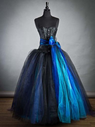 Robes Burlesques Pas Cher-Black and Blue long Gothic Burlesque Corset robe de bal 2014 sweetheart Corsage Lace Up Party Gown