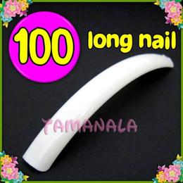 Опт Оптово-MN-100 х Белый Супер Длинные Ложные Nail Art Акриловые Советы Бесплатная доставка