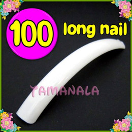 Wholesale Long False Nail Tips - Wholesale-MN-100 x White Super Long False Nail Art Acrylic Tips Set Free shipping