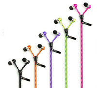 Wholesale Earphones Control Talk Headphones - Zipper Headphone In Ear Headphone 3.5mm In-Ear Zip Earphone Control Talk Metal Earphones for phone mp3 mp4 player 500pcs