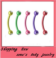 Wholesale Double Stud Ring - Fashion E05 wholesales double gem eyebrow stud 100pcs lot mix 8color steel body piercing jewelry eyebrow ring