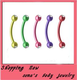 $enCountryForm.capitalKeyWord Canada - Fashion E05 wholesales double gem eyebrow stud 100pcs lot mix 8color steel body piercing jewelry eyebrow ring