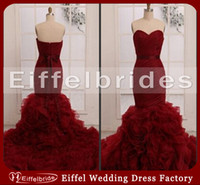 Wholesale Sexy Red Wine - 2016 Hot Sell Red Wine Wedding Dresses Sexy Ruched Sweetheart Neckline Stunning Mermaid Tiered Ruffles Backless Bridal Gowns Court Train