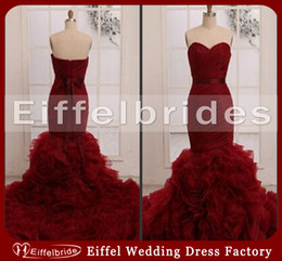 Wholesale Sweetheart Neckline Trumpet Wedding Dress - 2016 Hot Sell Red Wine Wedding Dresses Sexy Ruched Sweetheart Neckline Stunning Mermaid Tiered Ruffles Backless Bridal Gowns Court Train