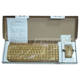 Wholesale Keyboard Wireless Combo - Wireless Multimedia Bamboo Keyboard and Mouse Combo 2.4G Bamboo Environmental Protection Low Carbon Healthy Comfortable for Using Free DHL