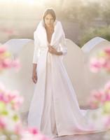 Wholesale Ivory Satin Coats - 2018 new Bridal Satin Full Length Coats Gracie Long Sleeves A-line Eternity Bride Winter Wedding Party Jacket