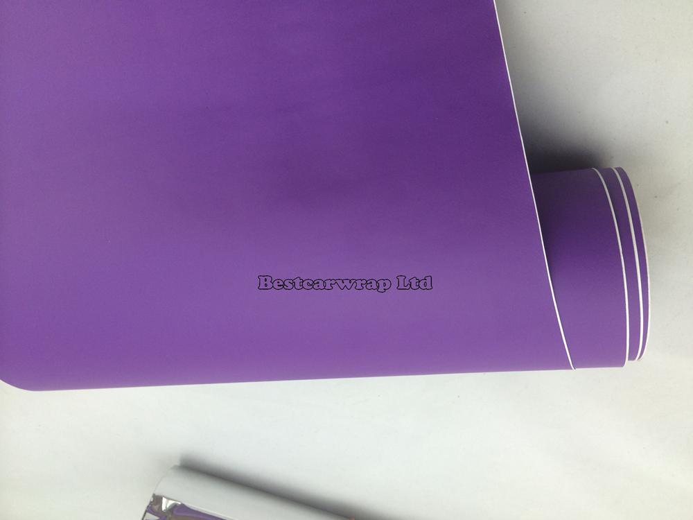 Premium Matt Puprle Vinyl Wrap Air Bubble Gratis Matt Lila Film för bilklistermärken Foile lakor Storlek: 1,52 * 30m / Roll 5x98ft