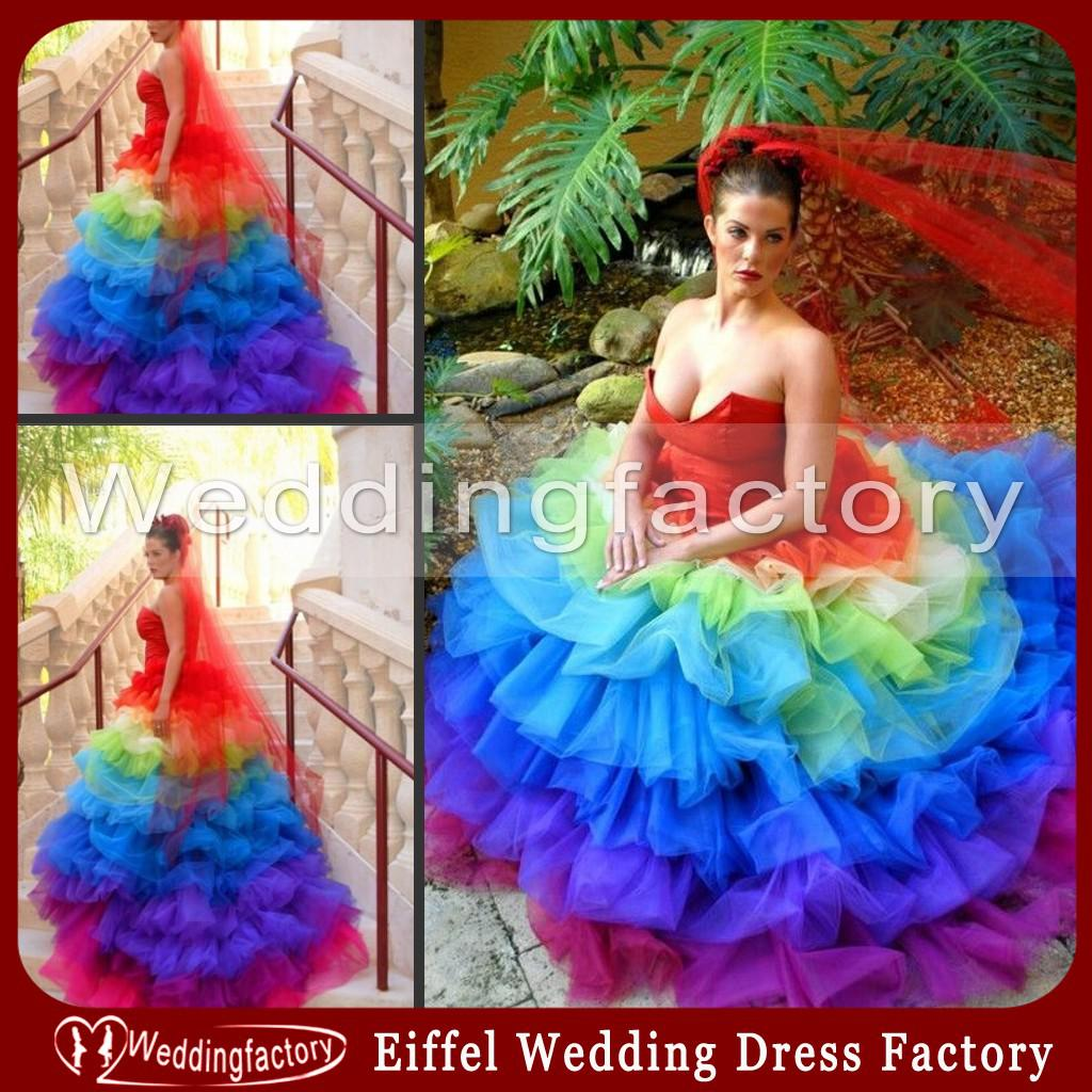 Unique Rainbow Colored Wedding Dresses Ball Gown Sweetheart Tiered ...