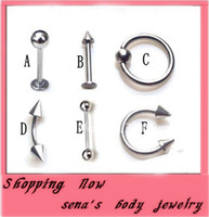 Body Piercings Piercing in acciaio inox Anelli di pancia Tongue Lip Piercing Mix Lotti