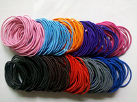 Wholesale Black Ponytail Hair Ties - Free shipping 400pcs Wholesale colourful Hair Elastic Ties Ponytail Holder ponies scrunchies thin hair band