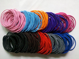 Wholesale Elastic Hair Pony - Free shipping 400pcs Wholesale colourful Hair Elastic Ties Ponytail Holder ponies scrunchies thin hair band