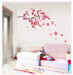 Wholesale Small Flowers Wall Sticker - Free Shipping Pink flowers Branch Wall Sticker for Living Room or Bedroom Decor
