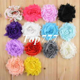 Wholesale Wholesale Chiffon Frayed Flower - 2015 baby Children 2.5'' Chiffon chic shabby frayed chiffon flowers for headband Free shipping