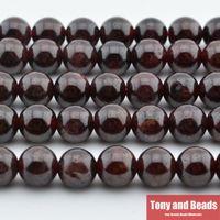 mücevher yapma taşları toptan satış-Ücretsiz Kargo yeni Doğal Taş Koyu Kırmızı Garnet Yuvarlak Gevşek Boncuk 16