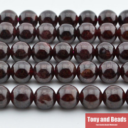 "Wholesale Red Garnet Stone - Free Shipping new Natural Stone Dark Red Garnet Round Loose Beads 16"" Strand 4 6 8 10 12 MM Size For Jewelry Making No.SAB15 DIY"
