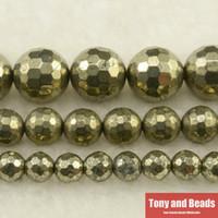 natürliche pyritsteine großhandel-Kostenloser Versand Naturstein Facettierte Eisen Pyrit Runde Lose Perlen 15