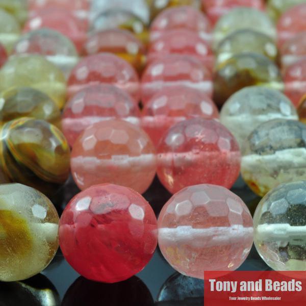 شحن مجاني الحجر الطبيعي السلس الأوجه الكرز الكوارتز فضفاض الخرز 16 ستراند 6 8 10 12 ملليمتر اختيار الحجم لصنع المجوهرات q8