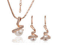Wholesale Top Bride China - New Top 1 Set Siver Special Pearl Jewelry Set Fashion Earrings Fashion Jewelry Silver golden Pendant Necklace bride pearl necklace XL31