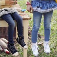 Wholesale Kids Clothes Jeans Skirts - Quality Children's Clothing Korean Children's Pants Fall New Pure Cotton Kids Jeans Falbala Gauze Girl Skirt Pants Jeans Trouse GX840