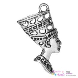 reina de plata envío gratis Rebajas NUEVO Colgantes Charm Nefertiti Reina egipcia Plata Antigua 3.9 cm x 2.7 cm (1 4/8