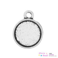 Wholesale 15mm Cabochon Setting - Charm Pendants Round Antique Silver Cabochon Setting(Fits 10mm Dia) 15mm x 12mm,200PCs (B35550) New Jewelry making DIY