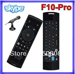 Wholesale Mele Android Tv Box - Mele F10 Pro 2.4GHz Wireless Keyboard Motion Controller With Fly Air Mouse Earphone & Microphone for Android TV Box