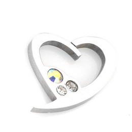 couples pendants UK - Womens and Mens Large Costume Stainless Steel Necklace Pendants Set for Couples Zircon Silver Heart Pendant Necklace Wholesale
