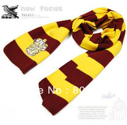 Wholesale Striped School Scarves - movie Scarves Movie Fans' Favorite School Unisex Striped Gryffindor Scarve Free shipping SHY01