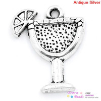 Wholesale Making Drinks - New Charm Pendants Margarita Drink, Cocktail, Tropical Drink Antique Silver 17x14mm,100PCs (B24771) jewelry making DIY