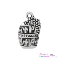 "Wholesale beer charm silver - Charm Pendants Beer Barrel Antique Silver ""Wine Barrel"" Carved 19mm x 12mm,100PCs (B35526) jewelry making diy"