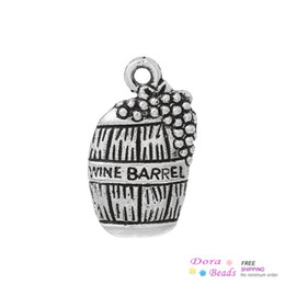 "Wholesale barrel plating - Charm Pendants Beer Barrel Antique Silver ""Wine Barrel"" Carved 19mm x 12mm,100PCs (B35526) jewelry making diy"