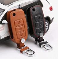 vw polo mk6 al por mayor-Nueva tapa de la clave del coche de cuero genuino para Volkswagen VW Jetta MK6 Tiguan Passat Golf POLO cc bora skoda octavia Fabia Superb