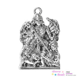 Pendentifs de charme Kali Dieu de divinité Uma Devi Parvati Hindi Inde Argent Antique 3.6cm x 2.4cm (20/8