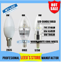 Wholesale High Power 6w E12 - hot sale X10pcs FREE SHIPPING HIGH POWER 3W 6W 9W candle lamp E14 E27 chandelier led light lamp lighting spotlight