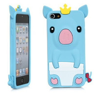 Wholesale Crown Iphone Case Cover - Cute Happy 3D Pig Crown CROWNED PIG Silicone Gel Case Cover For iPod Touch 5 touch5  5G  5th Gen Generation blue