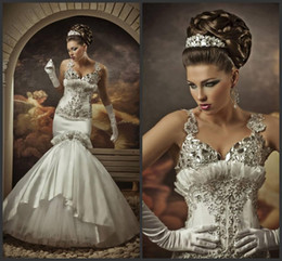 Wholesale Sweetheart Mermaid Rhinestone Wedding Dresses - Extravagant Elegant Mermaid Wedding Dresses With Strap Beaded Applique Rhinestone Ruffles Taffeta Tulle Bridal Gowns