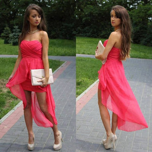 Wholesale Hot Casual Red Sweetheart Ruched High Low Chiffon Party Dresses Homecoming Dress Cocktail Gowns Bridesmaid Dress Cheap Free Shipping