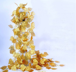 Wholesale Wholesale Wire Garland - 24pcs 7.8 feet Wired Gold Leaf Garland Silk Artificial Vine For Wedding Home Office