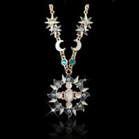 Opal Cat Eye Rhinestone Moon Sun Necklace Set Jewelry Europe Style Gold Plated Alloy Enamel