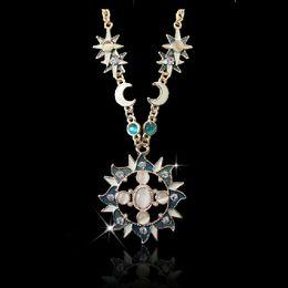 2019 venta al por mayor de joyería de tanzanita Ópalo del ojo de gato del Rhinestone de la luna de Sun del collar de la joyería estilo de Europa de la aleación plateada oro del esmalte