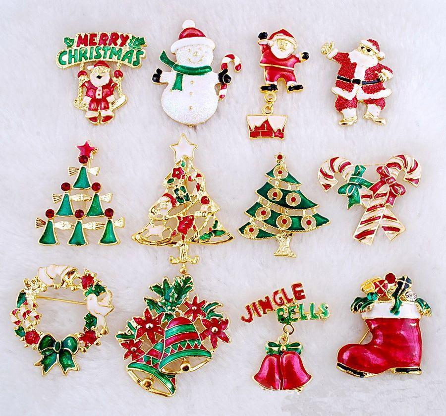 24pcs christmas rhinestone pins mixed differentjpg - Christmas Pins