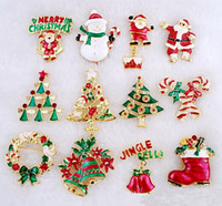 Wholesale Costume Brooch Jewelry Mixed - 24pcs Christmas RHINESTONE pins mixed Different Styles Bouquet Brooch wild costumes brooch jewelry Christmas ornaments for Christmas